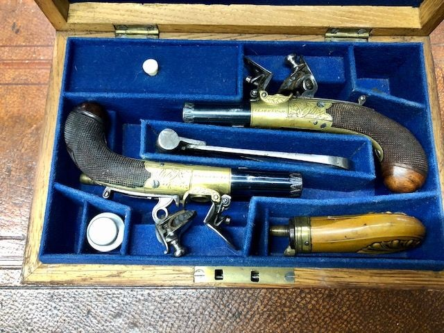 ***Pair of Flintlock Pistols by 'Clabrough, Linclonshire'***