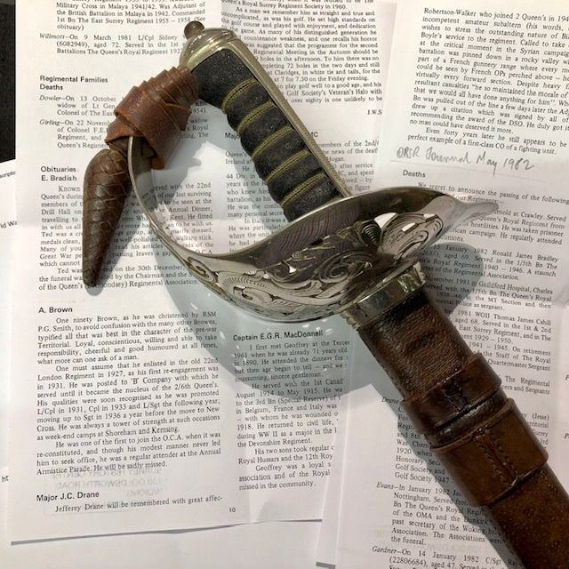 A Superb Presentation GV 1897 Pattern Sword by 'Wilkinson' Complete with Research.