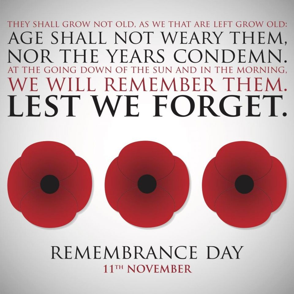 Remembrance Sunday - 10th November 2019