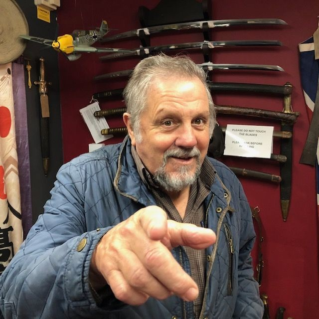 'Jethro' the Cornish comedian visits Armoury Antiques and Militaria...what a lovely chap.