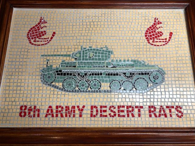 A hand made 8th Army (Desert Rats) framed mosaic featuring an 8th Army Valentine MKIII tank, two Jerboa and legend '8th Army Desert Rats'.