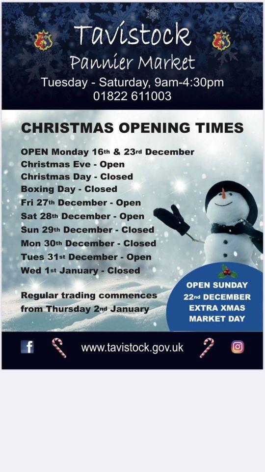 Tavistock Pannier Market Christmas Opening Times
